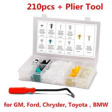 210 PCS Car Door Panel Push Pin Rivet Moulding Trim Fastener Clips+Removal Tool