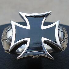 925 Sterling Silver Cross Maltese Skulls Ring Size 9 Goth Bl Enamel Hall N S New