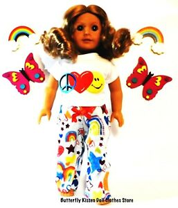 """Peace, Love, Happiness Pajama Set  18"""" Doll Clothes Fit American Girl Dolls"""