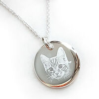 Personalised Round 925 Sterling Silver Pendant Necklace, Photo & Text engraved