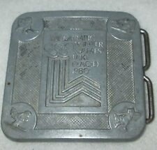 "XIII OLYMPIC BELT BUCKLE LAKE PLACID 2 1/2"" x 2 1/2"" 1980 TRUE DISTANCE MFG"