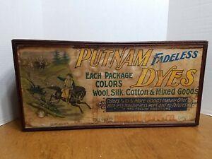 PUTNAM FADELESS DYES STORE DISPLAY ANTIQUE WOODEN CABINET MONROE DRUG CO.