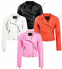 Womens Faux Leather Biker Jacket Pink Orange White Black Coat Size 8 10 12 14
