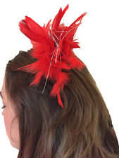 Burlesque Glamour Red Feather & Tinsel Hair Clip 1920s Style Fancy Dress New