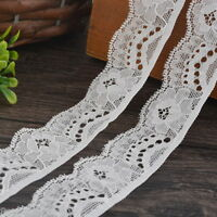 5Yards 3cm White Elastic Lace Trim Ribbon Fabric DIY Decor Crafts Sewing