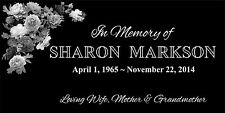 """Personalized Stone Memorial Engraved Headstone 6""""x12 Human Flower Design marker"""