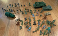 Vintage Army Men and Army Tanks Vehicles Over 50 Figures 3 Tanks Truck Great Lot