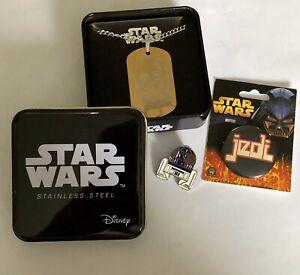 Star Wars Bundle C3PO Gold Dog Tag Necklace R2D2 Pin Jedi Pin Lot