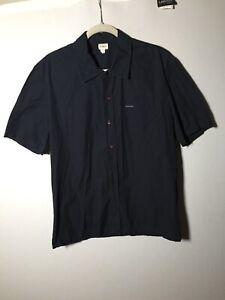 Calvin Klein Mens Dark Navy Blue Button Shirt Size XL Slim Fit Short Sleeve