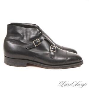 #1 MENSWEAR John Lobb England Black Lthr William II Double Monk Boots +TREES 8.5