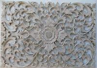 Pannello floreale in legno mdf traforato a mano cm 50x72 bianco quadro dipinto