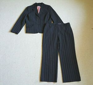 Women's Pant Suit-DALIA-black/white/pink pinstriped stretch-14P/12P