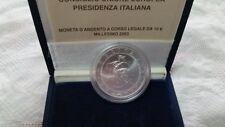 Italia   10 €   2003  Presidenza Italiana EU FDC     argento