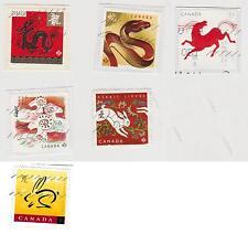 Stamps Canada Chinese Moon Lunar Calendar Year Dragon Serpent Ram Rabbit Horse