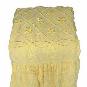 Mary Janes Farm Twin Sized Chenille Bedspread Yellow Floral **See Swatch Color
