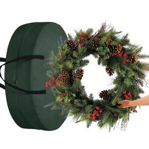Large Christmas Wreath Garland Zipped Storage Bag Case & Carry Handler Tool AU