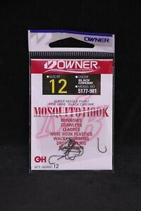OWNER Mosquito Bait Hooks 5177-981 Size 12 - 12 pack Black Chrome Super Needle