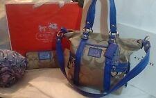 COACH Poppy Pop C Light Khaki w/Light Purple Satchel/Tote Bag & Matching Wallet