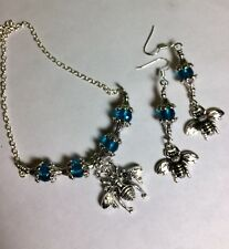 Queen Bee Jewelry Set With Teal Crystals And Antique Silver Spacers