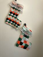Vintage Crochet Stockings country Cottage Patchwork Cottage Core