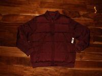 NWT Mens GAP Full Zip Maroon Red Puffer Jacket Coat Size XL X-Large $90