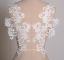 43*14cm Off White Embroidery Bridal Lace Applique Wedding Lace Motif  1Pair