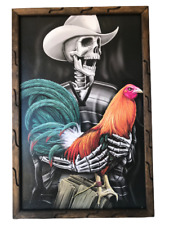 Skeleton Vaquero & Rooster 36 x 24 Inches Rustic Wooden Frame Painting