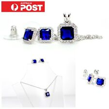 Deluxe Simulated Sapphire Blue Cubic Zirconia 3pc Square Jewellery Set