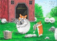 5x7 FOLK ART PRINT OF PAINTING FUNNY PETS DOG RYTA PEMBROKE WELSH CORGI SHEEP