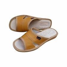 Womens Soft Natural Leather Slip On Slippers Size 3 4 5 6 7 8  Mules Flats UK