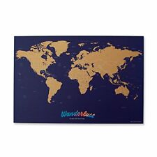 """Wanderlust Map - Travel Map Deluxe Scratch off world 16x23.9"""" 214 countries"""