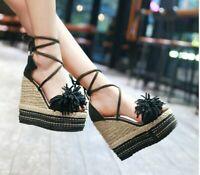 Women's High Heels Wedge Platform Sandals Shoes Bandage Open Toe Shoes Sandals