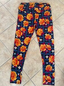 LuLuRoe TC Tall and Curvy Leggings Black with Yellow Orange & Blue Flowers New