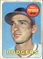 1969 Topps Baseball Card #47 Paul Popovich DODGERS FAIR G12849 - FAIR