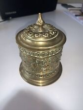 More details for stunning brass repoussé tea caddy tobacco jar