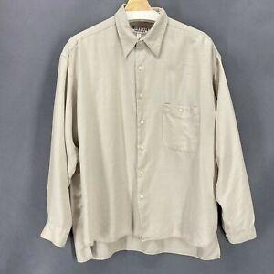 Heartland Men Shirt Silk Beige Ivory Button Up Long Sleeve Career Sz L