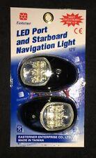 NAVIGATION LED LIGHTS PAIR BLACK SURROUND PORT/STARBOARD BOAT RIB YACHT