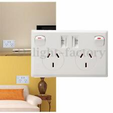 Double USB Australian AU Plug Wall Socket 2 Switch Home Power Point Supply Plug