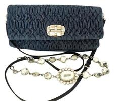 MIU MIU Denim Crystal Matelasse Flap Pochette Clutch Shoulder Cross Body Bag