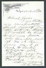 1880 NY St Dennis Hotel Letterhead W/Note No Envelope