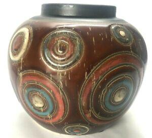 "Boho Round Vase Black Brown Privilege International 34193 Ceramic Pottery 6x7"""