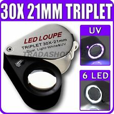 Gioielliere 30x Ingrandimento con 6 Built-in LED Triplet Lens 21 mm Loupe