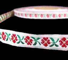 "5 Yds Red Daisy Flowers Woven Jacquard Ribbon Trim 1/2""W"