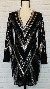 NWT Express M Black Silver Sequin Vneck Mesh Lined Dress Party Club Evening
