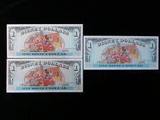 1993 Disney Dollar $1 A Series 3 CONSECUTIVE BILLS Mickey Mouse  #NY2