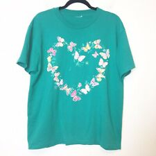 Vintage Teal Butterfly Heart T Shirt Unisex Size Large