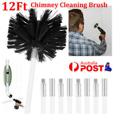Chimney Sweeping Cleaner Brush Flue Cleaning System Fireplace Tool Kit + 6 Rods