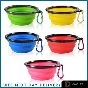 Pet Dog Cat Feeding Station Collapsible Silicone Bowls Dish Food Water Pet Bowl