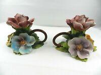 Vintage Pair of Capodimonte Italy Porcelain Flower Arrangements Colorful