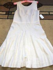 Jessica Simpson Women's Flare Dress, Size 10, Ivory, Linen Blend, Sleeveless